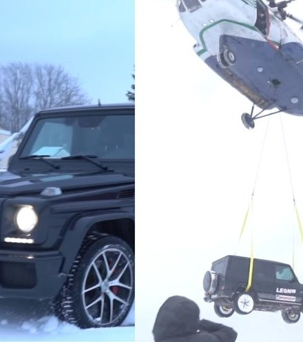 783cda russian vlogger drops mercedes from helicopter x220