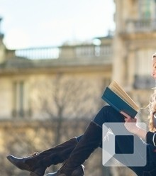 Aabaed beautiful young woman in paris reading a book x220