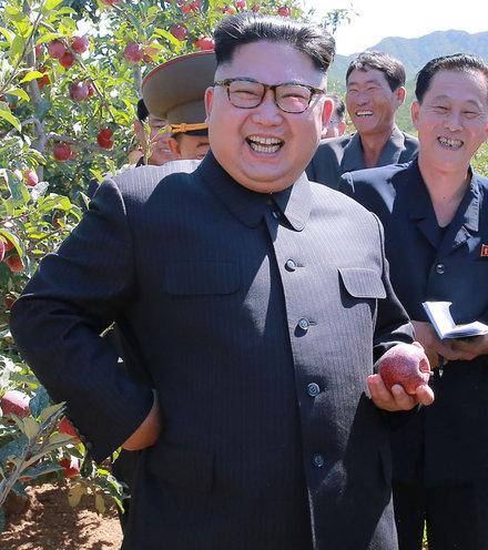 E09791 kim jon un smile with apple tree x220