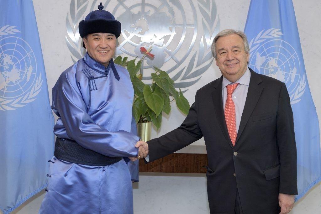 Монгол Улсаас НҮБ-ын дэргэд суух Байнгын төлөөлөгч В.Энхболд итгэмжлэх захидлаа гардуулж өгөв