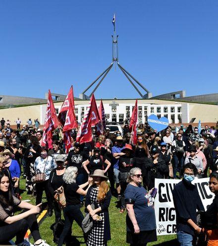 A23phr australian parliament outside protest x220